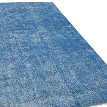 """Blue Over-dyed Vintage Hand-Knotted Turkish Rug - 5' 1"""" x 9'  (61 in. x 108 in.) - K0056154"""
