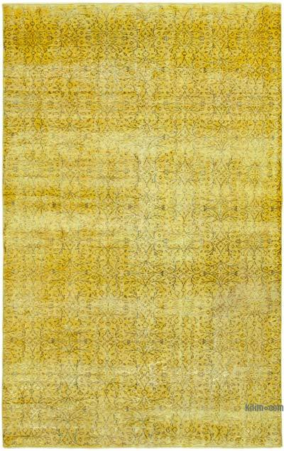 """Yellow Over-dyed Vintage Hand-Knotted Turkish Rug - 5' 10"""" x 9' 1"""" (70 in. x 109 in.)"""