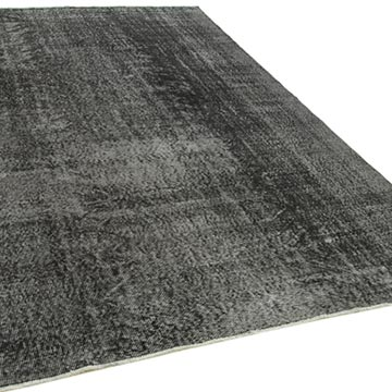 """Black Over-dyed Vintage Hand-Knotted Turkish Rug - 6' 9"""" x 9' 11"""" (81 in. x 119 in.) - K0056157"""