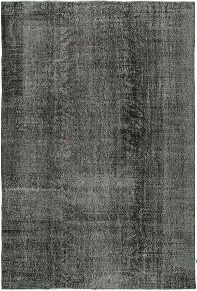 """Black Over-dyed Vintage Hand-Knotted Turkish Rug - 6' 9"""" x 9' 11"""" (81 in. x 119 in.)"""