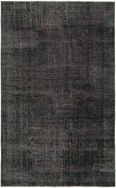 """Black Over-dyed Vintage Hand-Knotted Turkish Rug - 6' 4"""" x 10' 2"""" (76 in. x 122 in.)"""