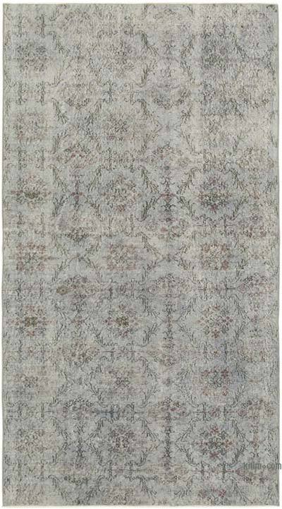 """Grey Over-dyed Vintage Hand-Knotted Turkish Rug - 4' 10"""" x 8' 8"""" (58 in. x 104 in.)"""