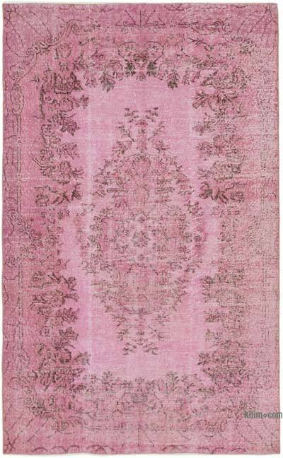 """Pink Over-dyed Vintage Hand-Knotted Turkish Rug - 5' 1"""" x 8' 4"""" (61 in. x 100 in.)"""
