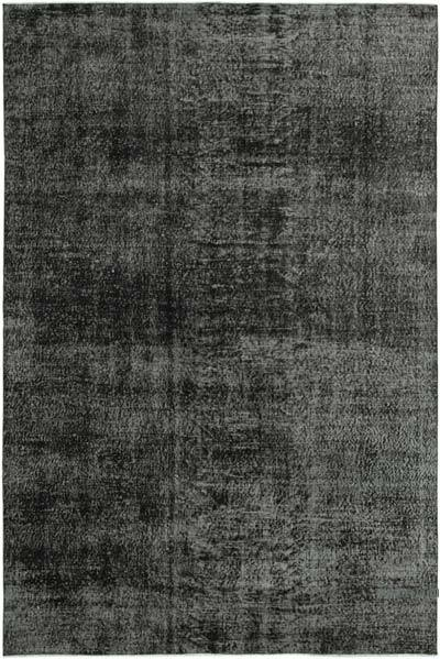 """Black Over-dyed Vintage Hand-Knotted Turkish Rug - 6' 5"""" x 9' 6"""" (77 in. x 114 in.)"""