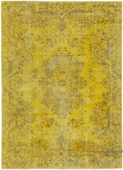 """Yellow Over-dyed Vintage Hand-Knotted Turkish Rug - 6' 8"""" x 9' 2"""" (80 in. x 110 in.)"""