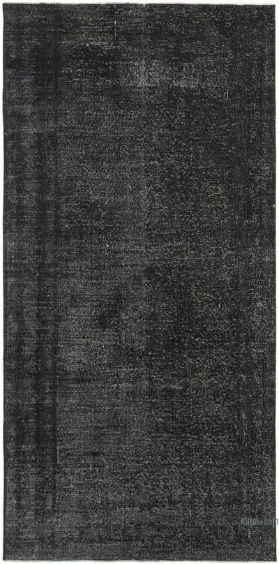 """Black Over-dyed Vintage Hand-Knotted Turkish Rug - 4' 6"""" x 9' 1"""" (54 in. x 109 in.)"""