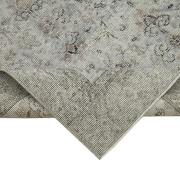 """Grey Over-dyed Vintage Hand-Knotted Turkish Rug - 5' 2"""" x 9' 7"""" (62 in. x 115 in.) - K0056187"""