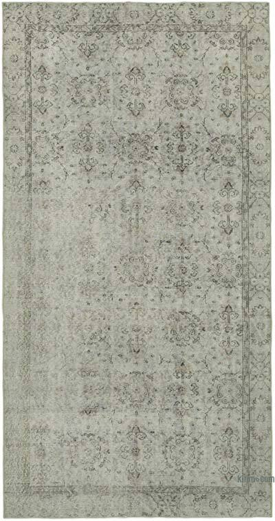 """Grey Over-dyed Vintage Hand-Knotted Turkish Rug - 5' 2"""" x 9' 7"""" (62 in. x 115 in.)"""