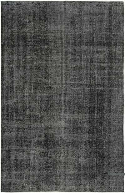 Siyah Boyalı El Dokuma Vintage Halı - 207 cm x 308 cm