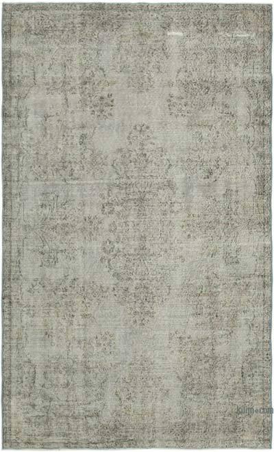 Gri Boyalı El Dokuma Vintage Halı - 165 cm x 274 cm