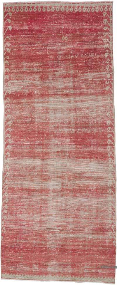 """Red Vintage Turkish Hand-Knotted Rug - 4' 1"""" x 9' 10"""" (49 in. x 118 in.)"""