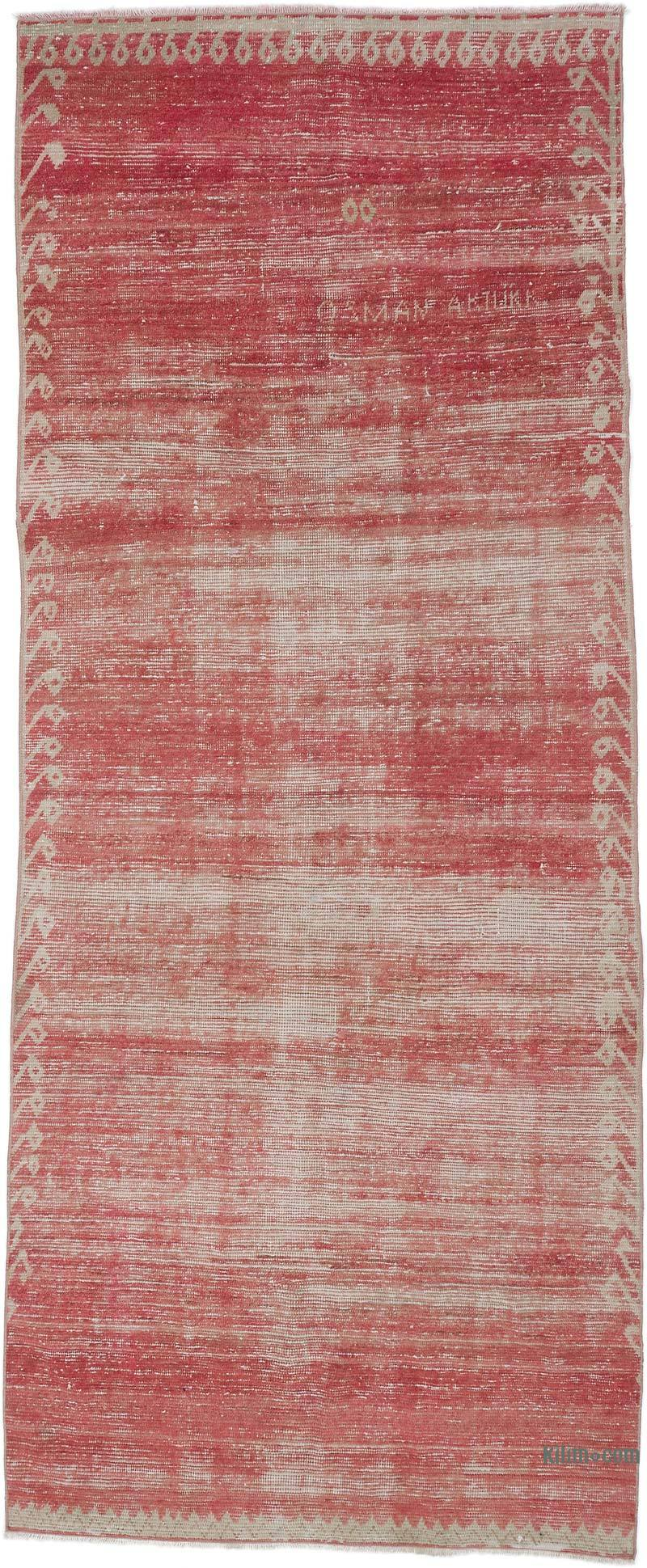 """Red Vintage Turkish Hand-Knotted Rug - 4' 1"""" x 9' 10"""" (49 in. x 118 in.) - K0056191"""
