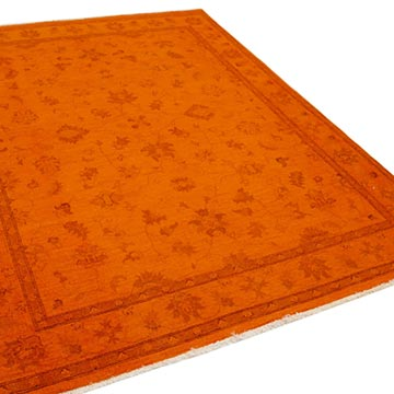 """Orange Overdyed Vintage Hand-Knotted Oriental Rug - 5' 11"""" x 7' 8"""" (71 in. x 92 in.) - K0056218"""
