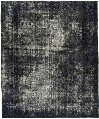 Siyah Boyalı El Dokuma Vintage Halı - 312 cm x 356 cm