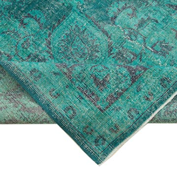 """Aqua Overdyed Vintage Hand-Knotted Oriental Rug - 8' 9"""" x 12' 6"""" (105 in. x 150 in.) - K0056304"""