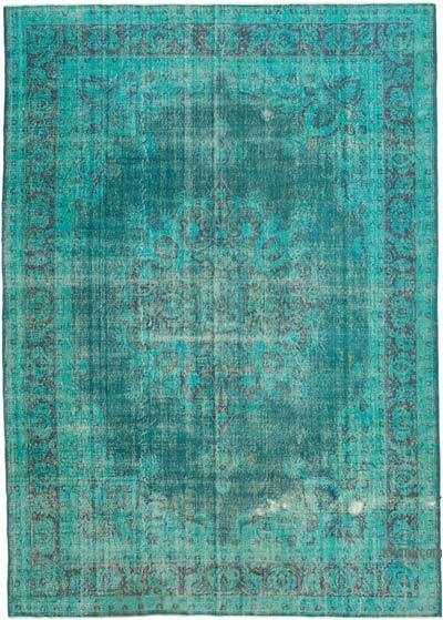 """Aqua Overdyed Vintage Hand-Knotted Oriental Rug - 8' 9"""" x 12' 6"""" (105 in. x 150 in.)"""