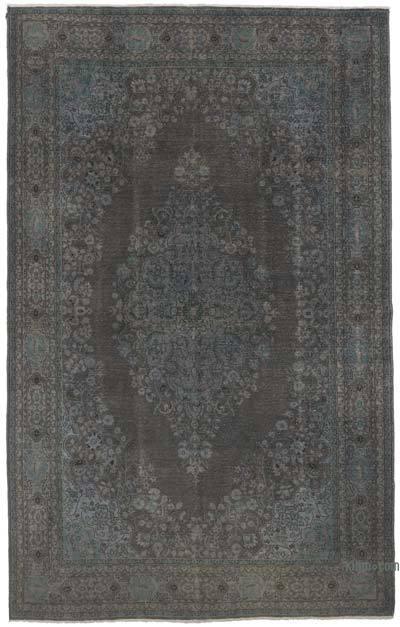 Gri Boyalı El Dokuma Vintage Halı - 206 cm x 327 cm