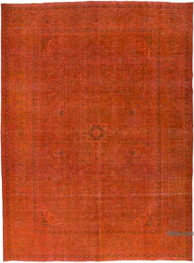 """Orange Overdyed Vintage Hand-Knotted Oriental Rug - 9' 10"""" x 13' 1"""" (118 in. x 157 in.)"""