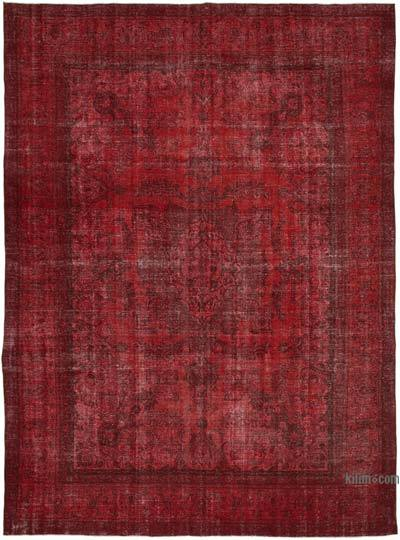 """Red Overdyed Vintage Hand-Knotted Oriental Rug - 9' 10"""" x 13' 1"""" (118 in. x 157 in.)"""