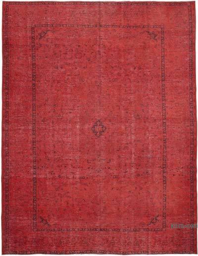 Kırmızı Boyalı El Dokuma Vintage Halı - 300 cm x 400 cm