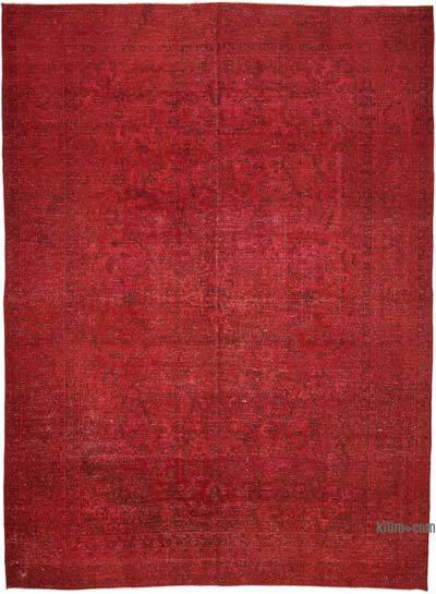 Kırmızı Boyalı El Dokuma Vintage Halı