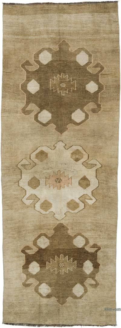 """Vintage Turkish Hand-Knotted Runner - 3' 7"""" x 9' 11"""" (43 in. x 119 in.)"""