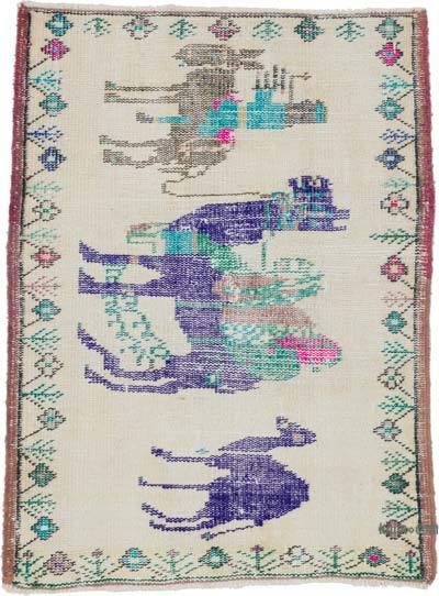 El Dokuma Vintage Halı - 75 cm x 102 cm