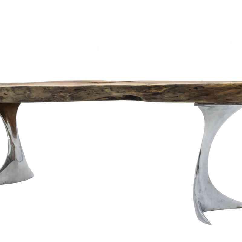 Live Edge Walnut Coffee Table with Cast Aluminum Legs - K0056396