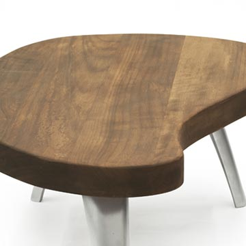 Solid Iroko Wood Coffee Table with Cast Aluminum Legs - K0056397
