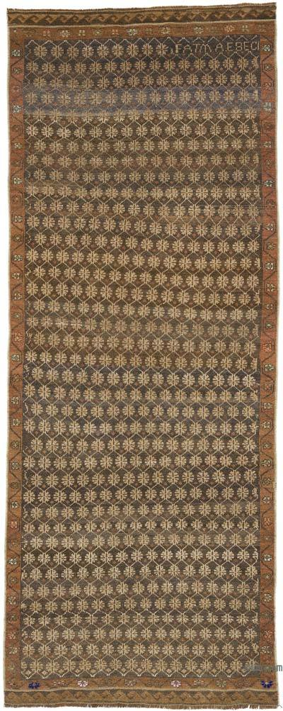 """Vintage Turkish Hand-Knotted Runner - 4' 3"""" x 10' 6"""" (51 in. x 126 in.)"""
