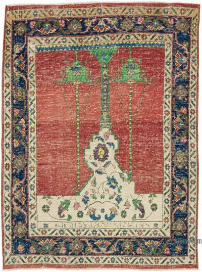 """Vintage Turkish Hand-Knotted Rug - 4' 1"""" x 5' 5"""" (49 in. x 65 in.)"""