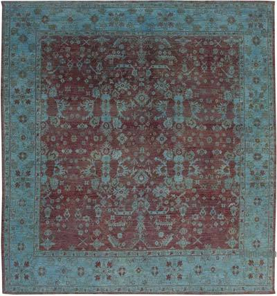 """Blue New Hand-Knotted Wool Oushak Rug - 11' 5"""" x 12' 2"""" (137 in. x 146 in.)"""