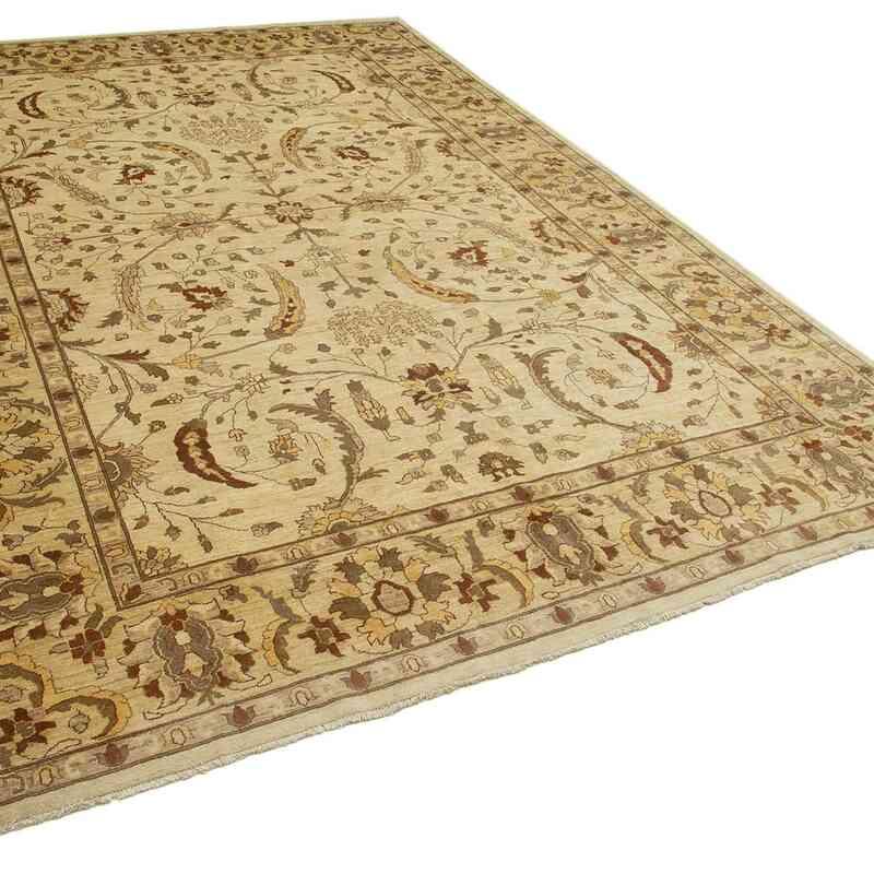 Bej Yeni El Dokuma Uşak Halısı - 306 cm x 442 cm - K0056496