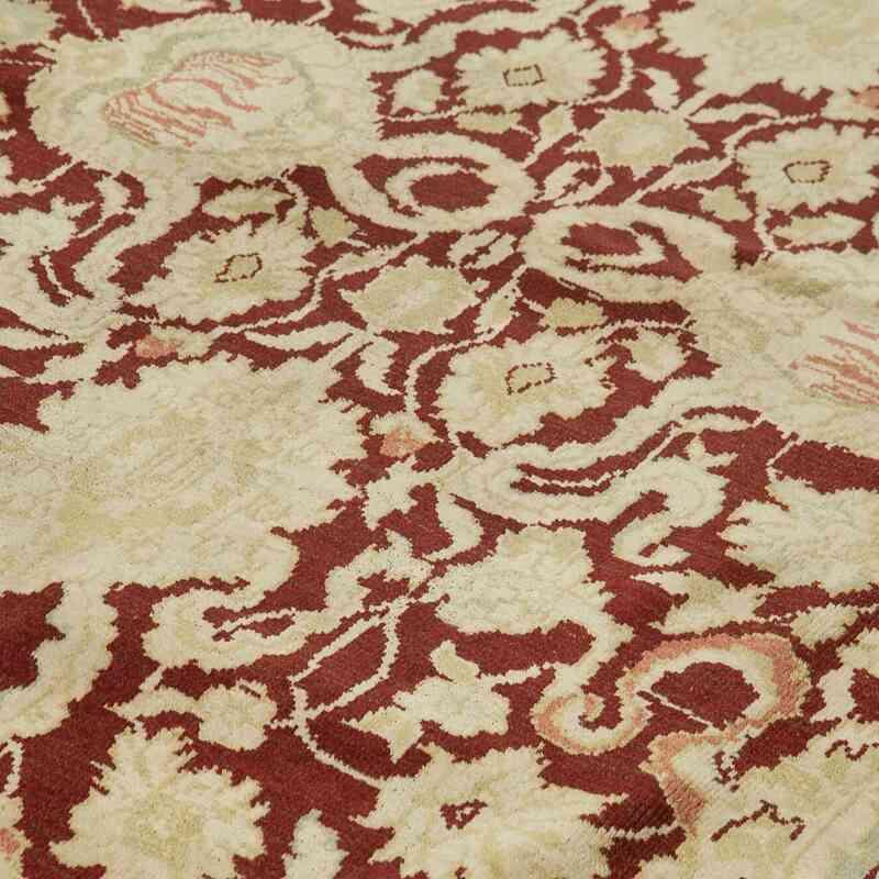 Bej, Kırmızı Yeni El Dokuma Uşak Halısı - 310 cm x 432 cm - K0056498