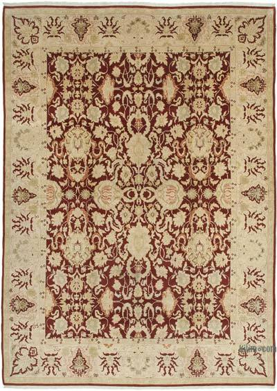 """Beige, Red New Hand-Knotted Wool Oushak Rug - 10' 2"""" x 14' 2"""" (122 in. x 170 in.)"""