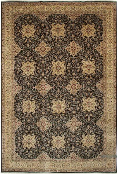 """Beige, Black New Hand-Knotted Wool Oushak Rug - 11' 9"""" x 17' 7"""" (141 in. x 211 in.)"""