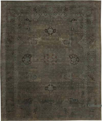 """Grey New Hand-Knotted Wool Oushak Rug - 12' 1"""" x 14' 6"""" (145 in. x 174 in.)"""