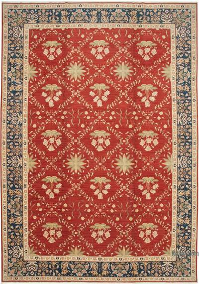 """Red New Hand-Knotted Wool Oushak Rug - 11' 5"""" x 16' 6"""" (137 in. x 198 in.)"""
