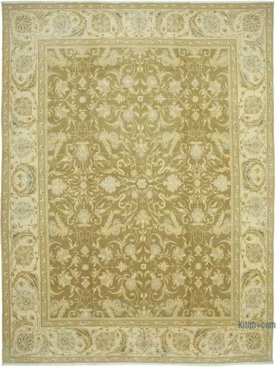 """Beige, Green New Hand-Knotted Wool Oushak Rug - 11' 9"""" x 15' 10"""" (141 in. x 190 in.)"""