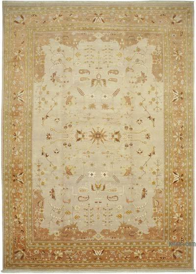 """Beige New Hand-Knotted Wool Oushak Rug - 12' 2"""" x 17' 4"""" (146 in. x 208 in.)"""