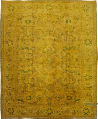 """Yellow, Green New Hand-Knotted Wool Oushak Rug - 11' 9"""" x 14' 10"""" (141 in. x 178 in.)"""