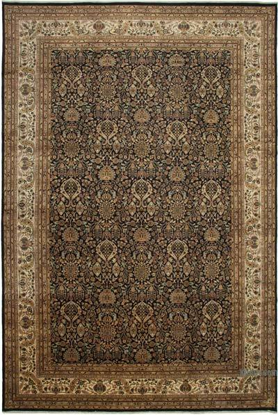 """Beige, Black New Hand-Knotted Wool Oushak Rug - 11' 10"""" x 17' 10"""" (142 in. x 214 in.)"""