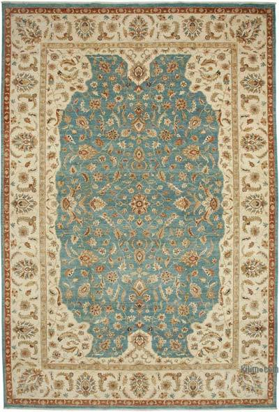 """Beige, Blue New Hand-Knotted Wool Oushak Rug - 11' 11"""" x 17' 11"""" (143 in. x 215 in.)"""