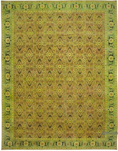 """Green, Yellow New Hand-Knotted Wool Oushak Rug - 13' 7"""" x 18' 2"""" (163 in. x 218 in.)"""