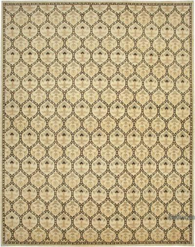 Beige Yeni El Dokuma Uşak Halısı - 361 cm x 467 cm