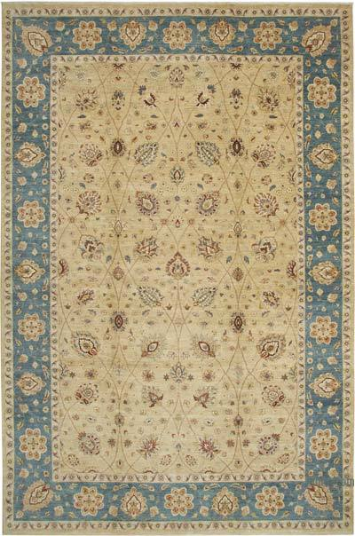 """Beige, Blue New Hand-Knotted Wool Oushak Rug - 11' 11"""" x 18'  (143 in. x 216 in.)"""