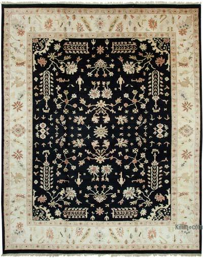 """Beige, Black New Hand-Knotted Wool Oushak Rug - 11' 6"""" x 14' 6"""" (138 in. x 174 in.)"""