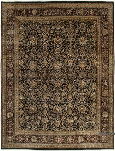 """Black, Beige New Hand-Knotted Wool Oushak Rug - 11' 7"""" x 15' 2"""" (139 in. x 182 in.)"""