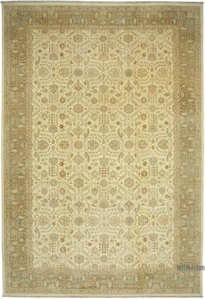 Beige New Hand-Knotted Wool Oushak Rug - 12'  x 18'  (144 in. x 216 in.)