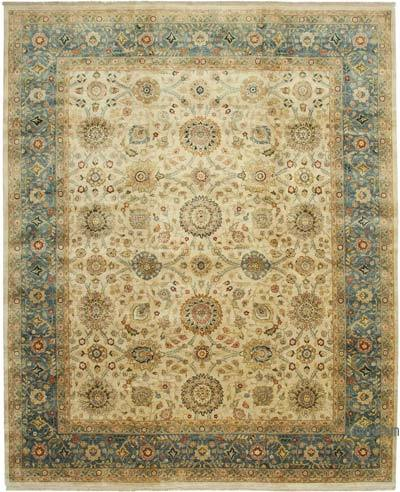 """Beige, Blue New Hand-Knotted Wool Oushak Rug - 12'  x 14' 8"""" (144 in. x 176 in.)"""